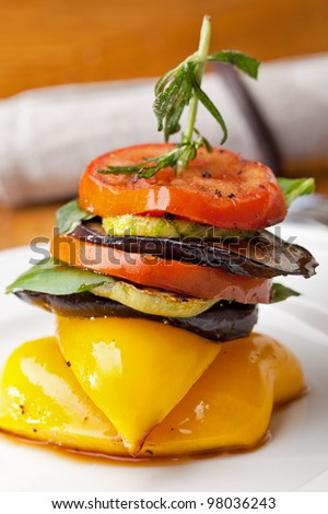 Grilled vegetables food on white plate