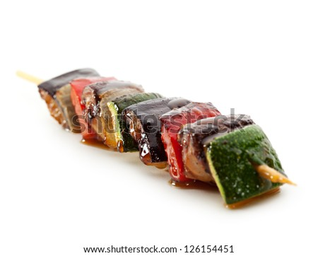 Grilled Vegetables isolated over White