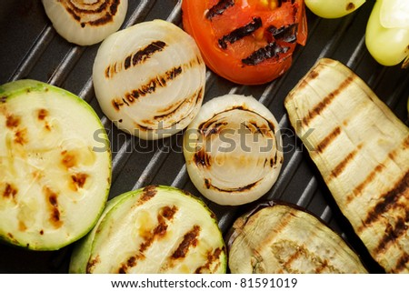 Grilled vegetables on pan close-up