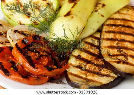 Grilled vegetables prepared to eat on kitchen