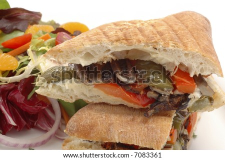 Grilled vegetables served on toasted foccicia bread.