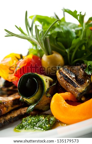 Grilled Vegetables with Fresh Green Herbs