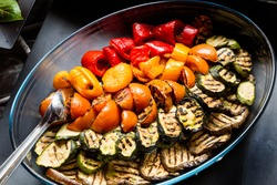 Grilled vegetables (zucchini, eggplant, pepperoni, tomato)