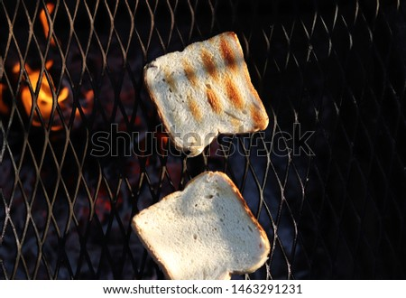 Grilled white toast on special black grill for perfectly crispy delicacy. Frying toasts on medium flame made of wooden logs. #1463291231