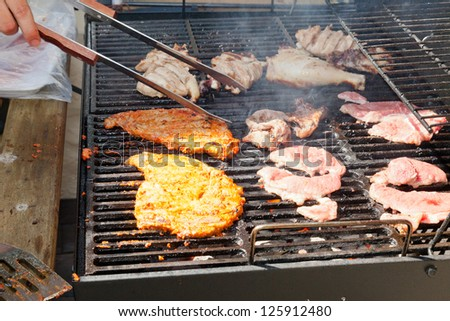 Grilling is a form of cooking that involves dry radiant heat from above or below, and takes place on a grill or griddle.