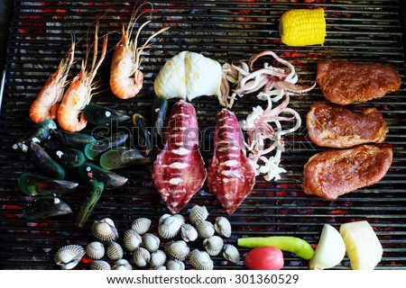 grilling seafood in Thailand