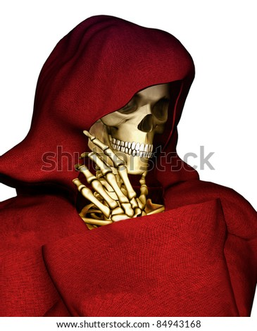 Grim Reaper dressed red hooded robe, boney hand on skull face chin in a thinking pose. Isolated on white background. Cutout clip art illustration