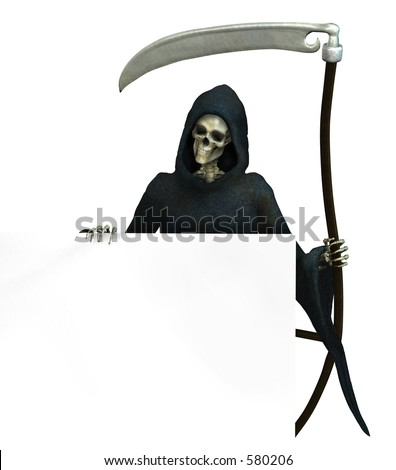 Grim Reaper holding onto the edge of a blank sign - 3D render
