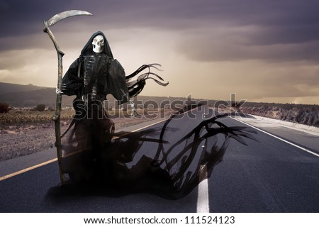 Grim reaper on a road