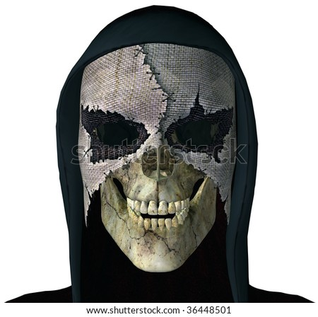 Grim Reaper Skull wearing a scary mask and black hood. Goth Illustration on clean white background