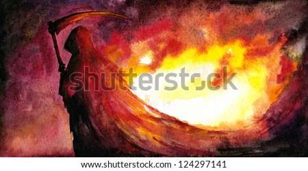 Grim Reaper with a scythe,fire in background.Picture I have created with watercolors.