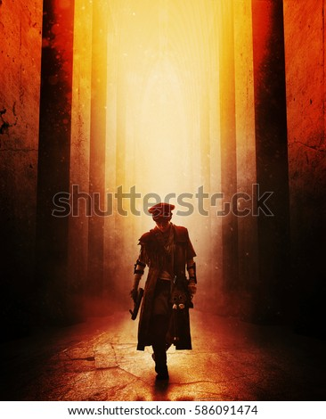 Grimy post apocalypse female survivor with homemade weapons walking across abandoned building. Light from above