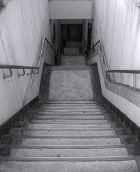 Grimy Staircase -- leading down to an underground parking lot
