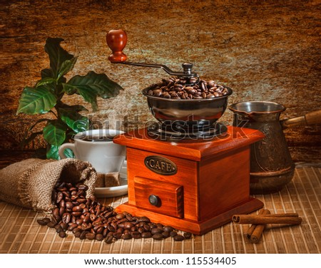 grinder and other accessories for the coffee in an old-style