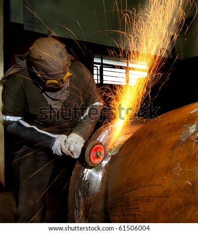 grinding in a steel factory