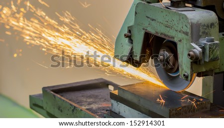 grinding machine on work and spark