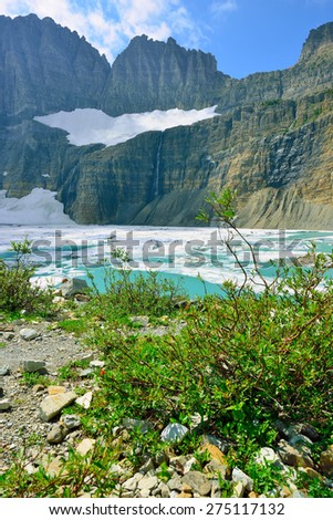 Grinnell glacier in Many Glaciers, Glacier National Park, Montana in summer
