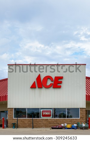 GRINNELL, IA/USA - AUGUST 8, 2015: Ace hardware store exterior and sign. he Ace Hardware Corporation is a retailers\' cooperative in the United States.
