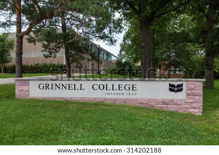 GRINNELL, IA/USA - AUGUST 8, 2015: Entrance sign on the campus of Grinnell College.