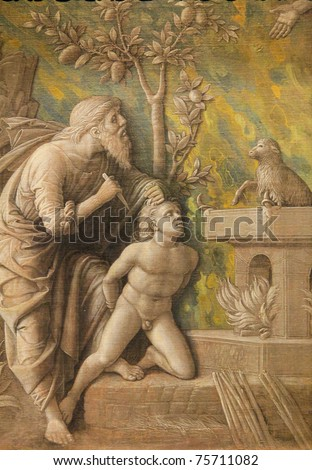 Grisaille created by Andrea Mantegna (1430-1506) around 1490, depicting Abraham who is about to sacrifice his son Isaac for God