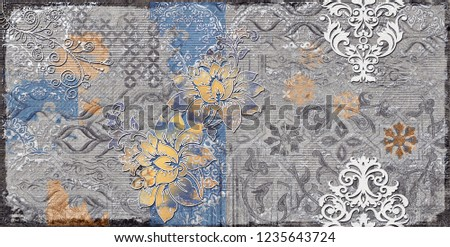 Grista-Grey wall art Decor, Grey Colored Digital wall tiles Design for Home or abstract grey color wall decor, textile art.