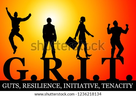 grit defined as guts, resilience, initiative and tenacity Stock photo ©