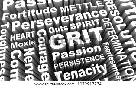 Grit Passion Perseverance Persistence Word Collage 3d Illustration