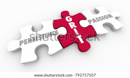 Grit Persistence Passion Puzzle Pieces 3d Illustration