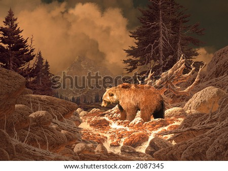 Grizzly Bear in the Rocky Mountains/Image from an original 17x24 painting./SW-010
