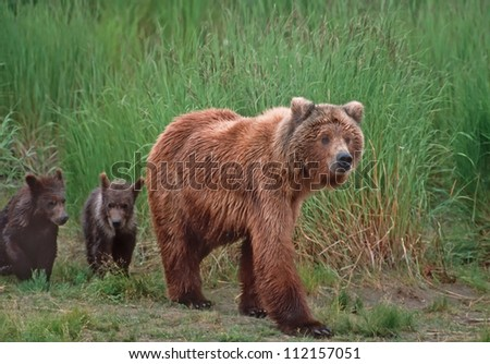 Grizzly bear with her cubs in SW Alaska