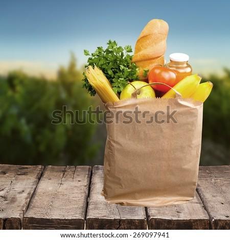 Groceries, Bag, Food.