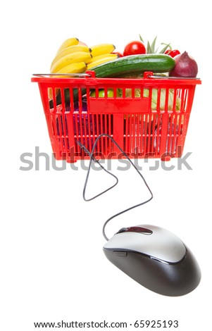 Grocery basket with Computer Mouse, concept of online shopping