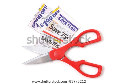 grocery coupons and pair of scissors