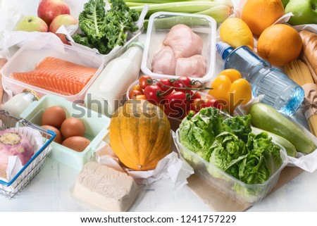Grocery. Different health food. Grocery shopping concept. Balanced diet. Top view  #1241757229