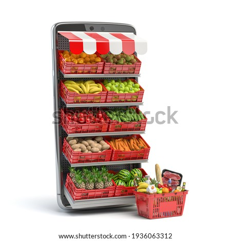 Grocery food buying online and delivery app concept. Food market in smartphone. Smartphone and crates with fruits and vegetables with shopping basket full of food. 3d illustration