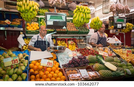 Grocery stall in the market,