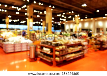 Grocery store blur bokeh background - shoppers at grocery store with defocused lights