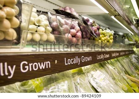 grocery store, full shelf of Thai peel clean herb in supermarket.