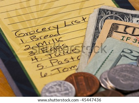 Grocery store list with money.