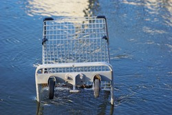 Grocery store shopping cart in water
