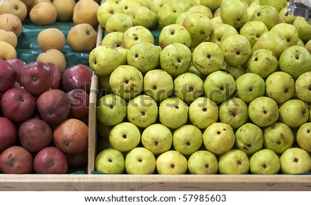 Grocery store with fruit and vegetables for sale - stock photo