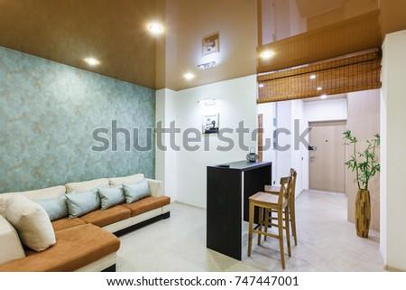 GRODNO, BELARUS - OCTOBER 30, 2017: interior of modern living hall ...