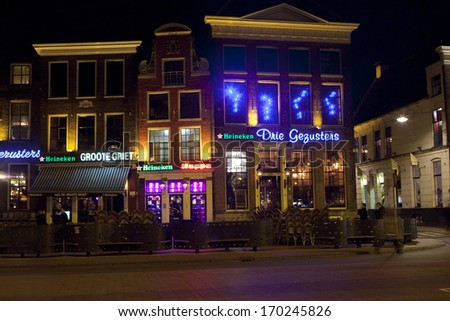 Groningen, The Netherlands-March 8,2012: Rows Of Bars And Restaurants In The Old Center Of Groningen. The Old Center Of University Town Groningen Is Famous For Its Bars And Nightlife For Students