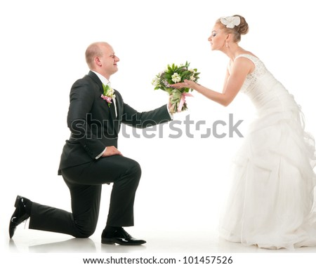 groom and bride are holding bridal bouquet, cut out from white