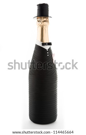 Groom. Champagne wedding bottle isolated on white
