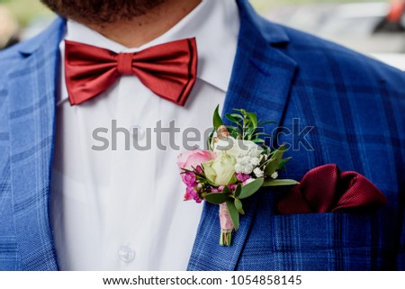 Groom in a jacket. The morning of the groom, bridegroom's fees. Close up ストックフォト ©