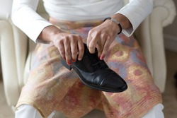 Groom or Business man dressing up with classic elegant shoes.