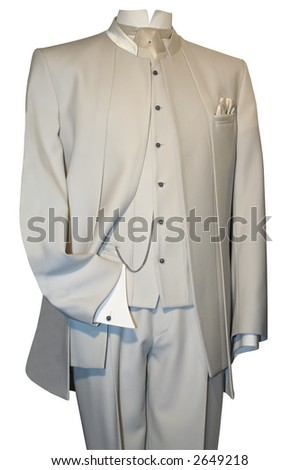 stock photo Groom 39s wedding suit on a mannequin isolated on white with