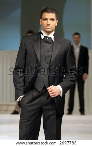 stock photo Groom 39s wedding suit on a young model