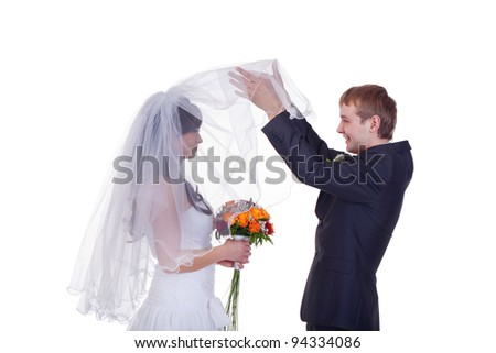 Groom takes first look on bride